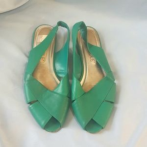 Nicole Green Bridget Peep Toe Flats Size 7.5M